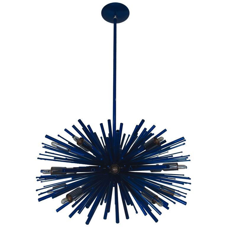Custom Supernova Chandelier by Lou Blass with Blue-Berg Finish