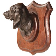 19th Century French Bronze Dog Sculpture on Wooden Plaque Signed Lecourtier