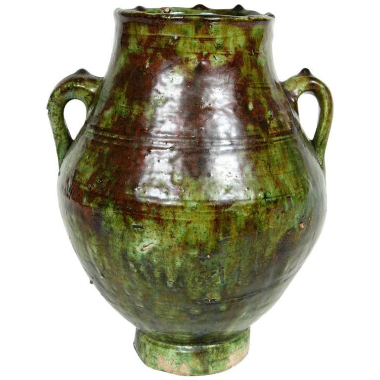 Moroccan Tribal Green Glazed Terracotta Jar