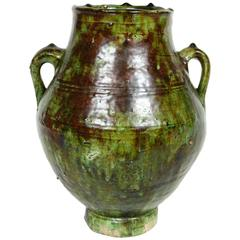 Moroccan Tribal Green Glazed Terracotta Jar