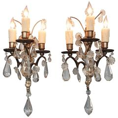 Pair of Mid-19th Century Italian Baroque Silvered Bronze and Crystal Sconces