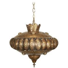 Moroccan Brass Pendant Light in Alberto Pinto Style