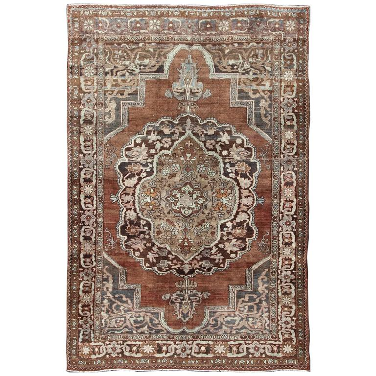 Turkish Kars Carpet With Clical Design In Various Shades Of Brown And Gray For