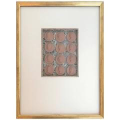 12 19th Century Italian Terracotta Intaglios in Custom 24-Karat Gilded Frame