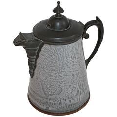 Early 19th Century Large Granite and Pewter Coffee Pot
