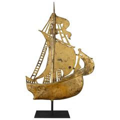 New England Ship Weathervane in Copper and Cast Iron Sails, circa 1880