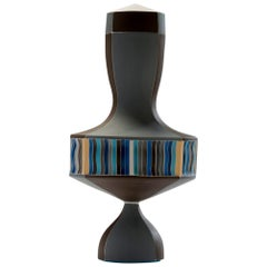 Contemporary Brown and Blue Urn with White Seams Colored Porcelain Urn