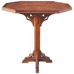 Late 19th Century Carved Solid Oak Small Gothic Revival Altar Table Great Patina