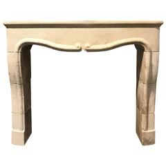 Hand-Carved Limestone Mantel