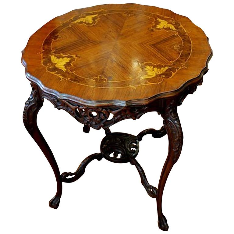 Antique English Hand-Carved Marquetry Inlaid Mahogany Centre or Occasional Table
