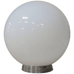 1970s Round Sphere Milk Glass Ceiling Globe with Fitter