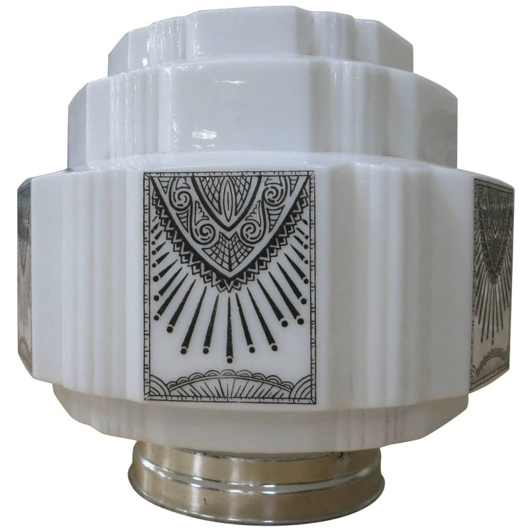 """Large Art Deco """"Church"""" Skyscraper Ceiling Mounted Globe with Fixture"""