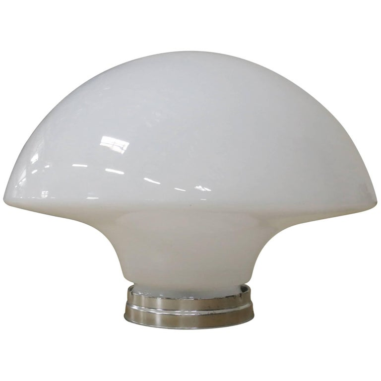 Large Art Deco Milk Glass Ceiling Mounted Globe with Fitter