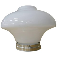 Large Art Deco Bell Shaped Milk Glass Ceiling Globe with Fitter