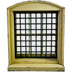 1870 Wooden Window Frame with Forged Steel Guard