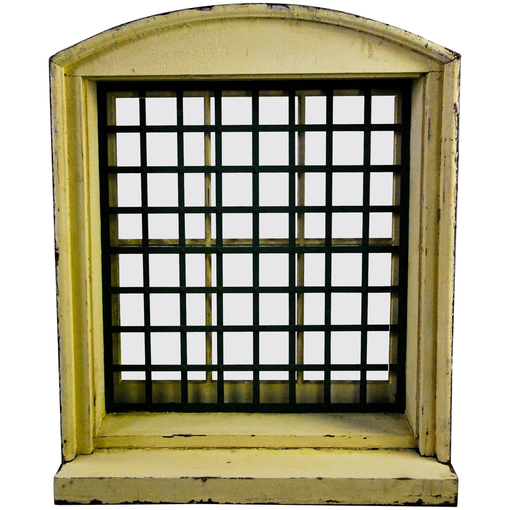 Genial 1870 Wooden Window Frame With Forged Steel Guard