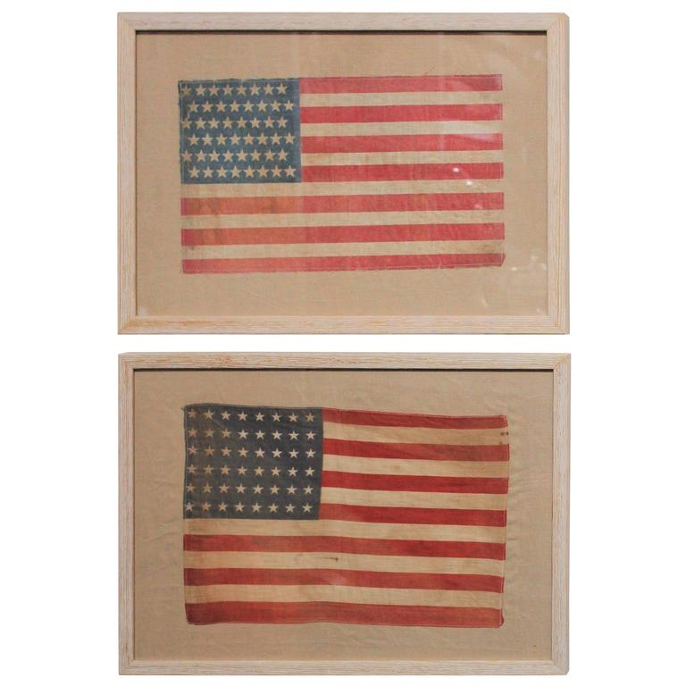 Pair of Framed 48 Star Parade Flags For Sale