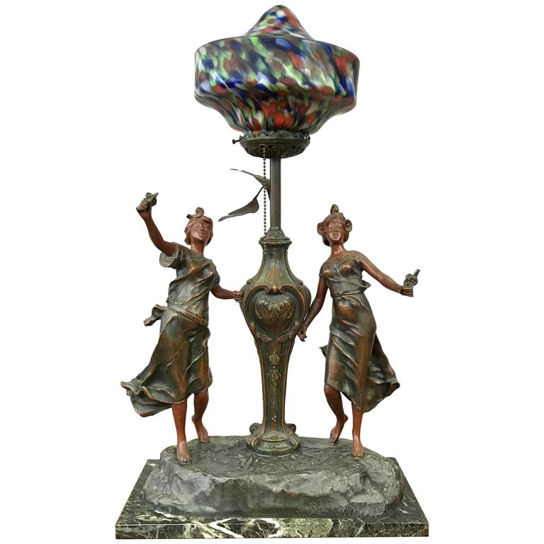 Art Nouveau French Figural Table Lamp in the Manner of L & F Moreau