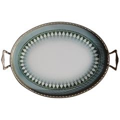 Hand-Painted Porcelain Oval Tile Art Deco Serving Tray Marked Underneath