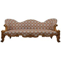 Burr Maple Victorian Settee, Scottish, 1890