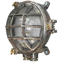 20th Century Steel 6 Bar Circular Wall Light With Cage & Edison Bulb
