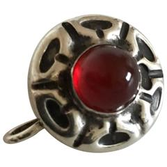 Georg Jensen Silver Button Brooch No. 5 with Red Stone, Early
