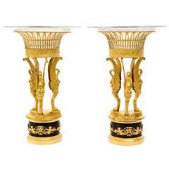Pair of Empire Gilt Bronze and Cut-Glass Surtout De Table