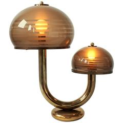 Smoked Acrylic and Brass-Plated Table Lamp, Mid-Century, 1970s, USA