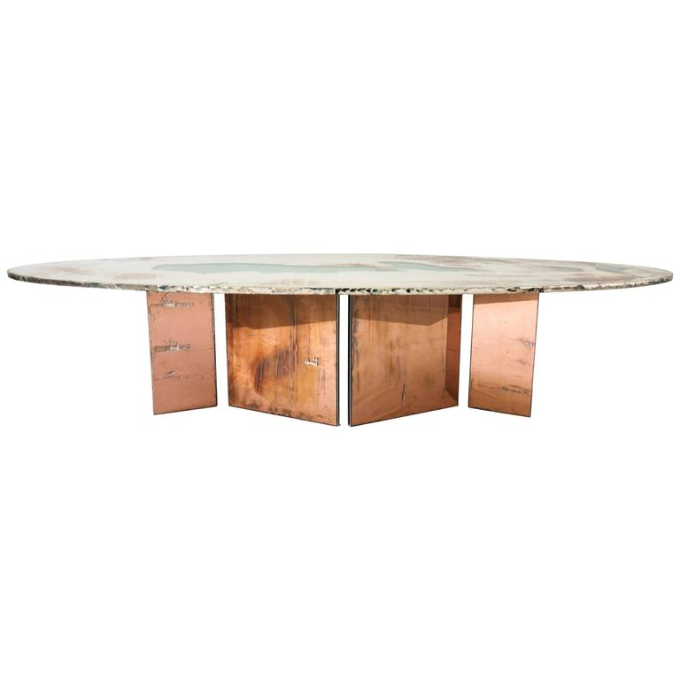 Fly dining Table 210x75h double glass top coated metal legs withsilvered glass