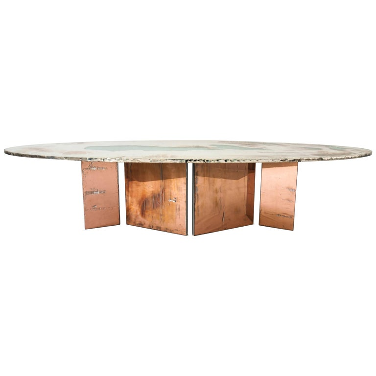 Flight Dining Table Double Silvered Glass Top with Wings Legs, Handmade in Italy For Sale