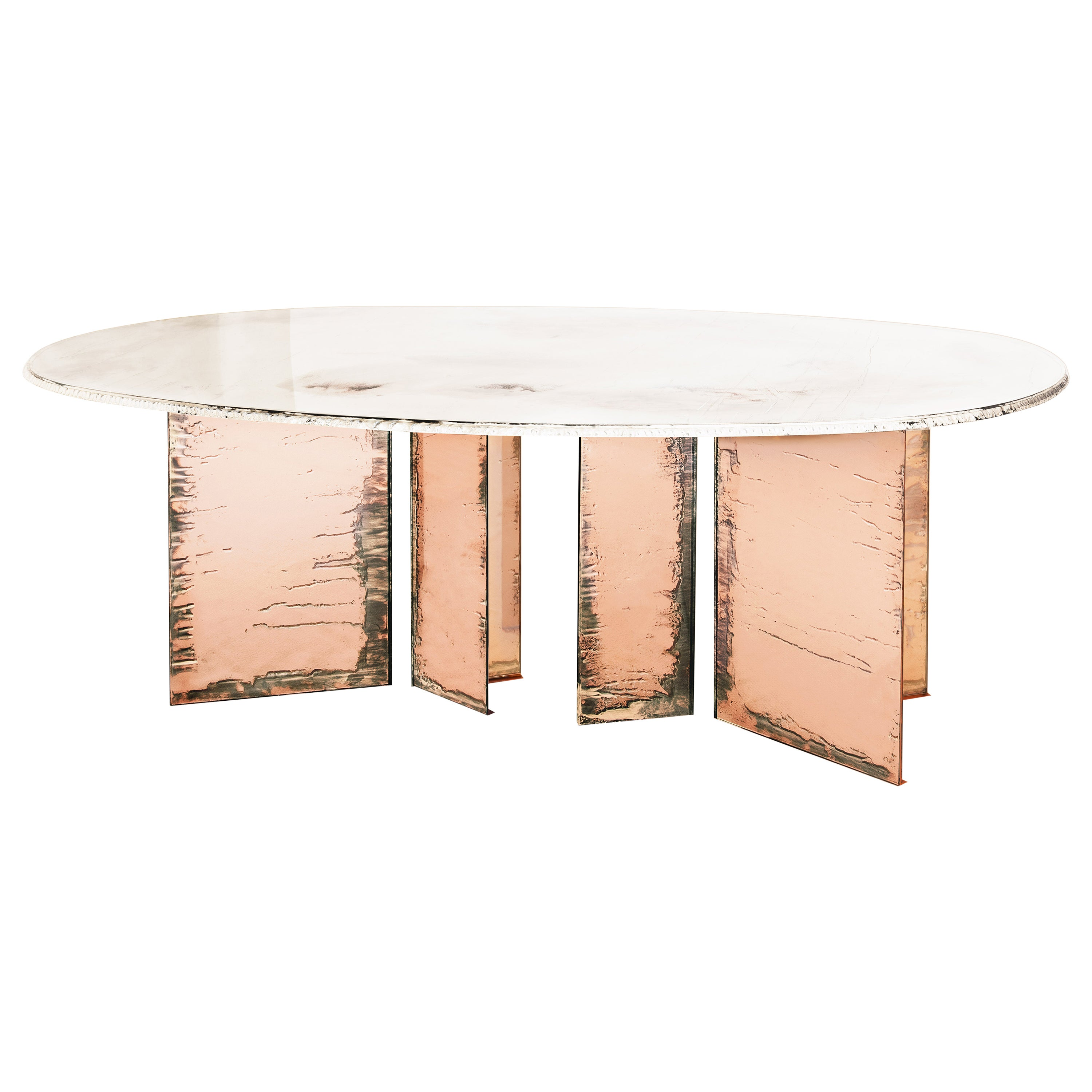 """""""Flight"""" Contemporary Dining Table, Double Silvered Glass Top, Rose Glass Legs"""