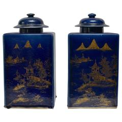 Pair of Powder Blue Chinese Tea Caddy Urns with Lids, circa 1800