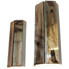 Trilogy Wall sconce Silvered Art Glass three sheet by sabrina landini metal Body