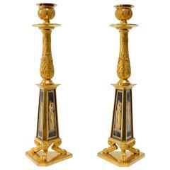 Rare Pair of Gilt-Bronze and Verre Églomisé Candlesticks, Early 19th Century
