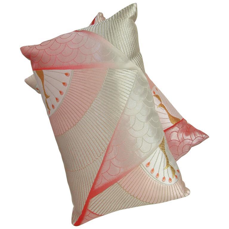 Pair of Vintage Silk Luxury Obi Pillows
