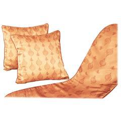Silk Tribal Design Ethnic Style Hand Print Cushion Pillow Cover, Qalamkar