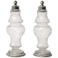 Pair of Swedish, 18th Century Silver-Mounted Cut-Glass Vinegar and Oil Bottles