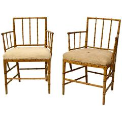 Very Rare Pair of Swedish 18th Century Faux Bamboo Armchairs by Ephraim Stahl
