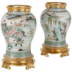 Pair of Ormolu-Mounted Chinese Famille Verte Porcelain Vases