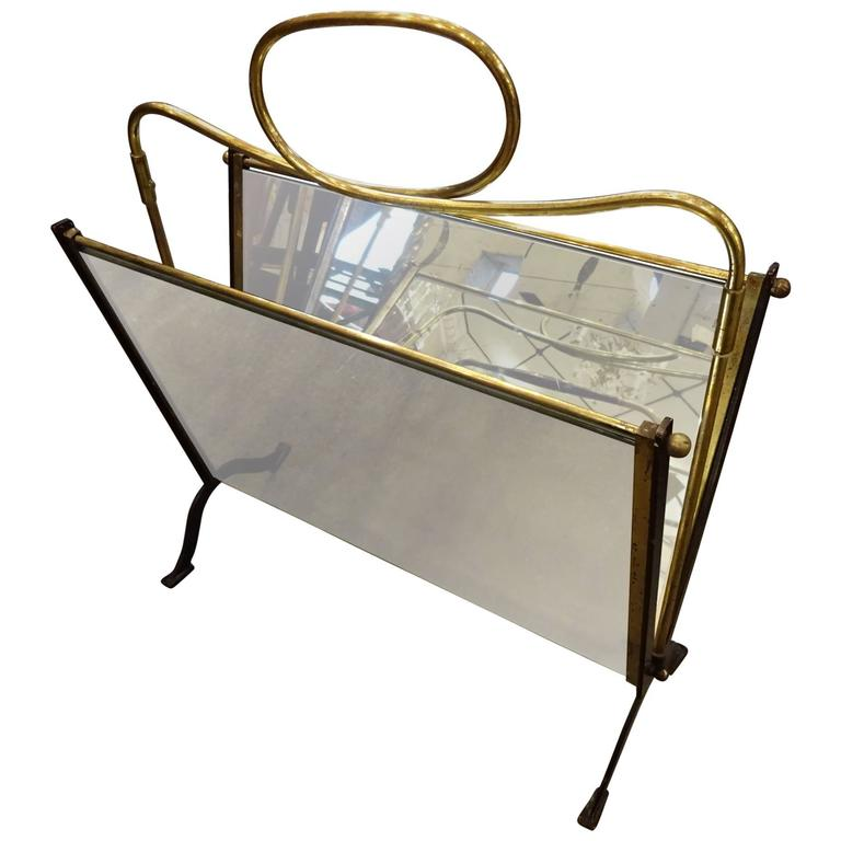 Mid-20th Century Brass Mirror Magazine Holder