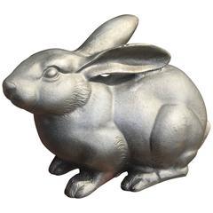 Japan Fine Antique Big Eared Hand Cast White Bronze Rabbit