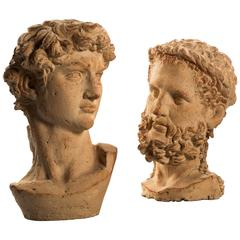 20th Century Pair of Biscuit Colored Terracotta Busts