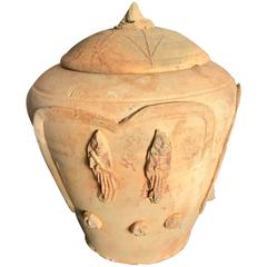 "Ancient Chinese Buddhist ""Attendant & Zodiac"" Offering Jar, 900 AD"