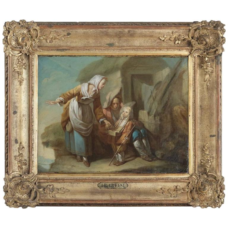 French School Late 18th Century Oil on Canvas ''The Departure'', circa 1790