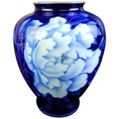 Japan Brilliant Hand-Painted Blue Flowers Vase Famous Fukagawa Signed Mint Boxe