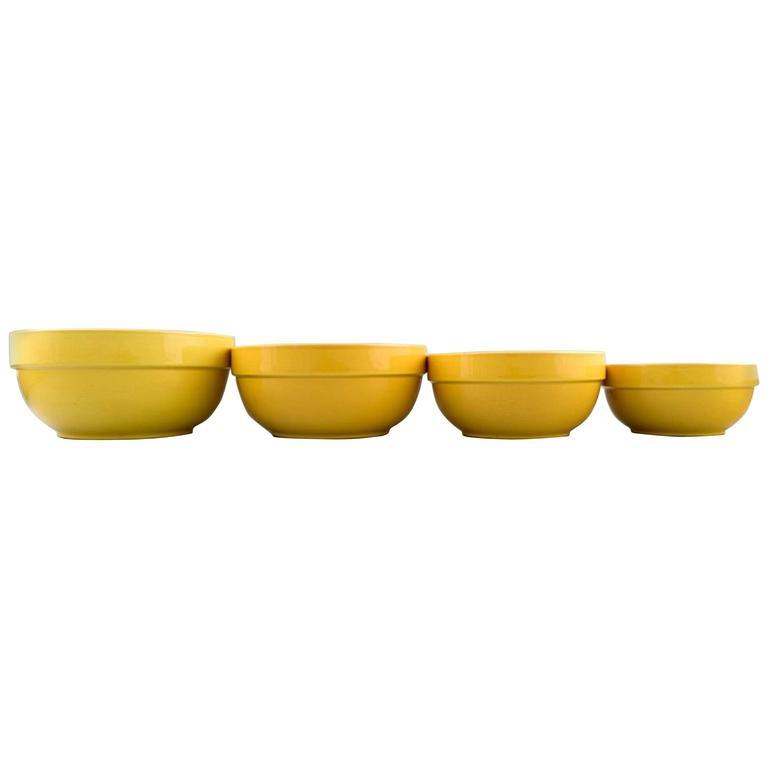 Four Bowls, Susanne Yellow Confetti Royal Copenhagen / Aluminia For Sale
