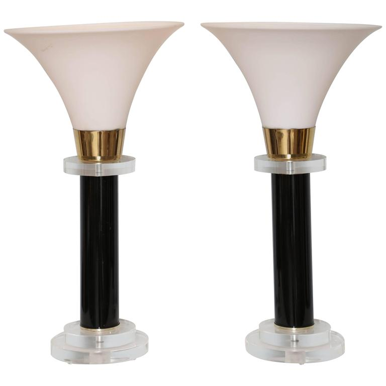 Pair of Torcheres, Midcentury, Black and Clear Lucite, Milk Glass Shade 1