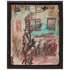 "Purvis Young, ""People"" - Painting on Masonite/Pressboard"