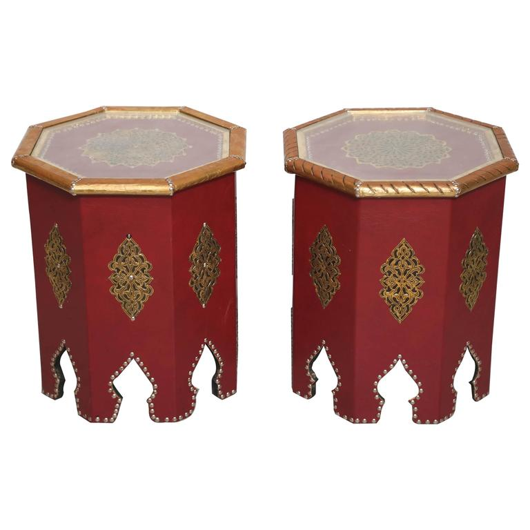 2 moroccan artisan handmade red leather side tables with gilt detailsdramatic for - Leather Side Tables