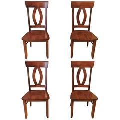 Set of Four Handsome Cherry Dining Chairs